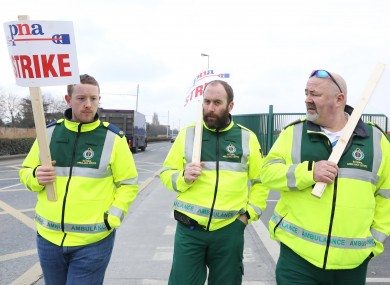 Ambulance personnel out on strike earlier this year.