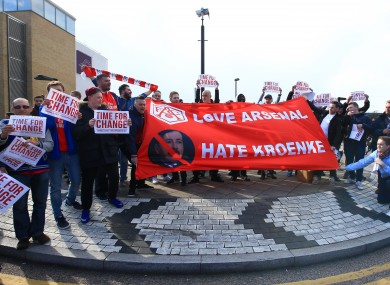 Gunners supporters with an anti-Kroenke banner in 2016.