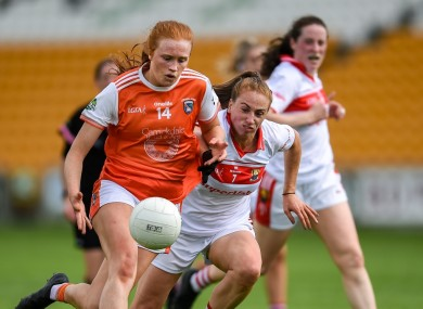 Blaithin Mackin of Armagh in action against Ashling Hutchings of Cork.