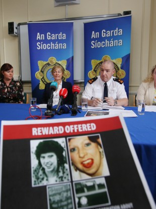 Pictured are (l to r) daughter Lisa Smith, Detective Inspector Sorcha Fitzpatrick, District Superintendent Padraic Powell, and daughter Rachel Smith in Bray Garda Station today.