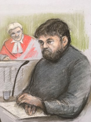 Court artist sketch of Carl Beech giving evidence at Newcastle Crown Court