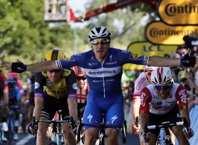 Viviani celebrates his stage four win.