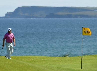 Local hero: Graeme McDowell playing at Portrush earlier.