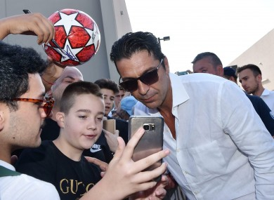 Buffon poses for selfies as he completes his return to Juve.