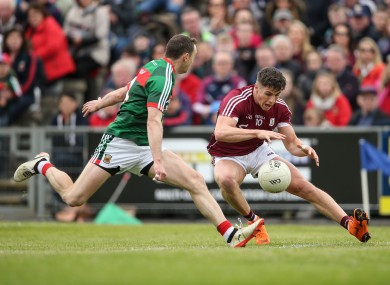 Galway's Shane Walsh in action against Mayo's Keith Higgins last year.