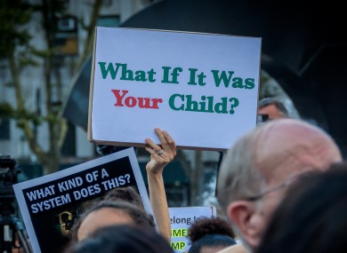 Thousands of people took to the streets at Foley Square, across from the Immigration and Customs Enforcement (ICE) New York's office, to protest US detention camps, on 12 July 2019.