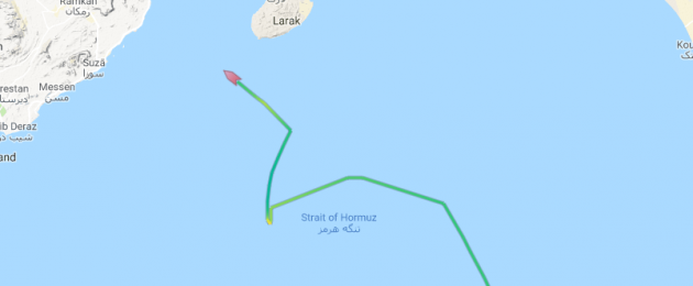 A track of the ship's course from MarineTraffic.com