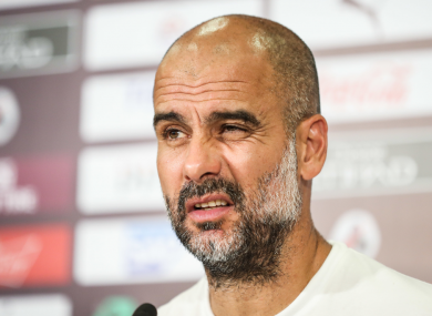 Guardiola speaks to press after defeat to Wolves.