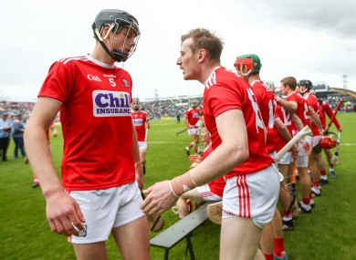 Cork's Robert Downey and Damien Cahalane ahead of the senior Championship meeting with Limerick in May.