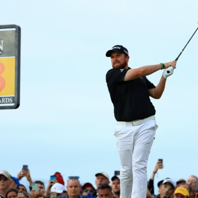 Shane Lowry sits at the top of the Open leaderboard.