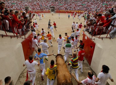 Revellers and a fighting bull arrive at the bullring during the running of the bulls at the San Fermin Festival today