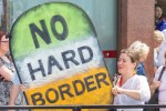 A Pro-EU protester on the 'People's Vote' march last Setpember holds homemade sign about the Brexit border issue