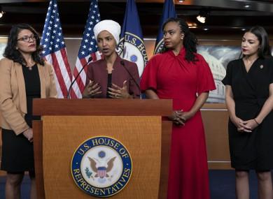 From left: U.S. Representatives Rashida Tlaib, Ilhan Omar, Ayanna Pressley and Alexandria Ocasio-Cortez.