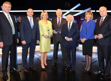 The six candidates with Pat Kenny at a debate prior to last year's election