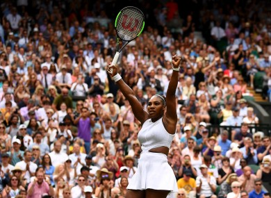 Williams celebrates another win on Centre Court.