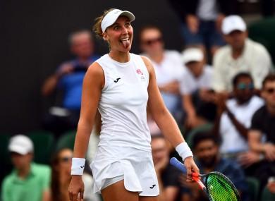 Beatriz Haddad Maia reacts after beating Garbine Muguruza at Wimbledon earlier this month.