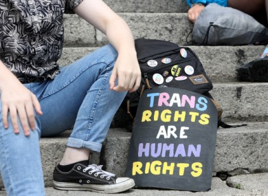 A protester at Dublin's trans pride march in 2018.