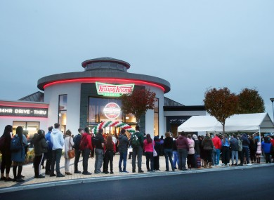 Queues outside the Krispy Kreme in Blanchardstown last September.