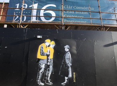 Graffitti outside 16 Moore Street, the location of the official rebel surrender in 1916.