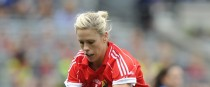 Angela Walsh in action for Cork in the 2014 All-Ireland final.