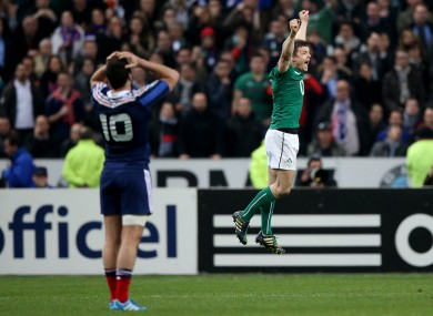Brian O'Driscoll celebrates the historic win in Paris on his final appearance for Ireland.