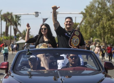Andy Ruiz Jr and his wife, Julie, celebrate the Mexican-American's upset of Anthony Joshua in their hometown of Imperial, California.