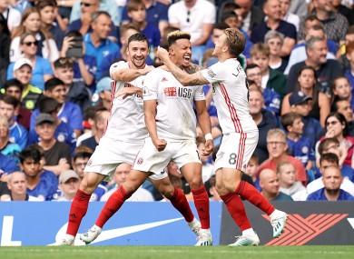 Robinson celebrates scoring for Sheffield United.