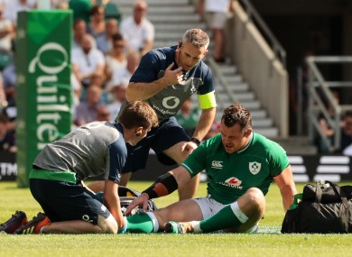 Healy was forced off during the first half at Twickenham.