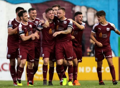 Galway United's Conor Melody celebrates scoring what turned out to be the winning goal.