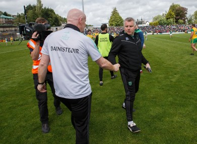Donegal manager Declan Rochford and coach Stephen Rochford.