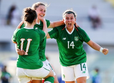 Eleanor Ryan Doyle celebrates her second goal against South Korea at the 2019 World University Games.