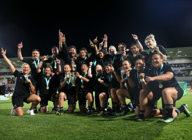 New Zealand celebrate winning the World Cup in 2017.