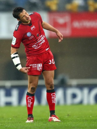 Trinh-Duc watches an attempt on goal in Toulon colours last December.