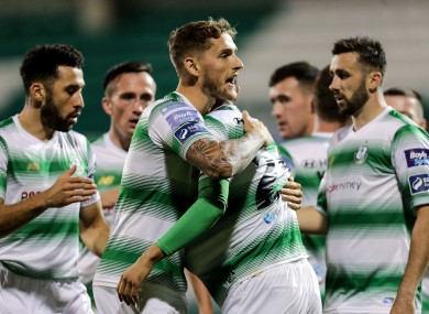 Shamrock Rovers players celebrate a goal against Waterford.