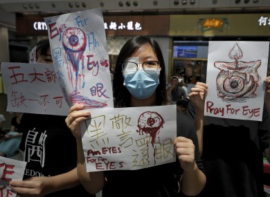 Protesters at Hong Kong airport on 12 August.