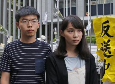 Hong Kong pro-democracy activists Joshua Wong and Agnes Chow