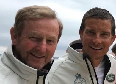 Enda Kenny and Bear Grylls pictures yesterday.