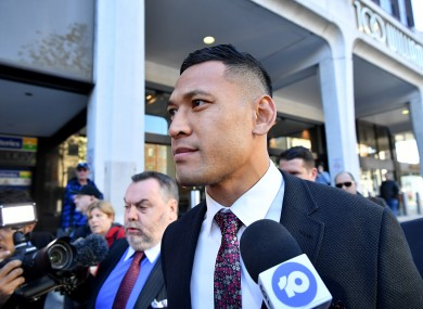 Folau outside the Fair Work Commission in Sydney.