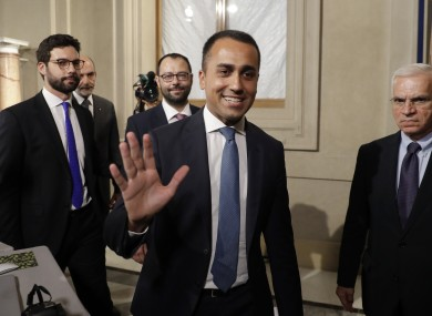 Leader of Five-Star Movement, Luigi Di Maio, leaves after meeting with Italian President Sergio Mattarella at Rome's Quirinale presidential palace today.