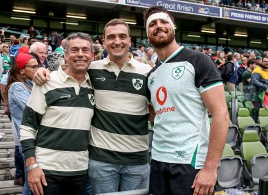 Kleyn with his father and brother after the game.