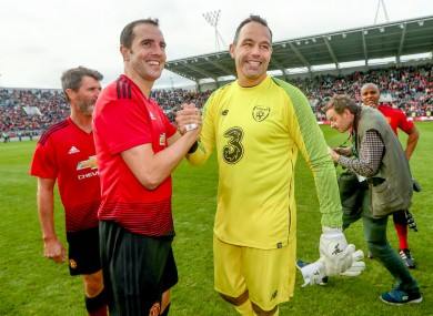 Former Ireland team-mates John O'Shea and David Forde pictured last summer.