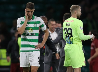 Jozo Simunovic reacts after Celtic lose to CFR Cluj