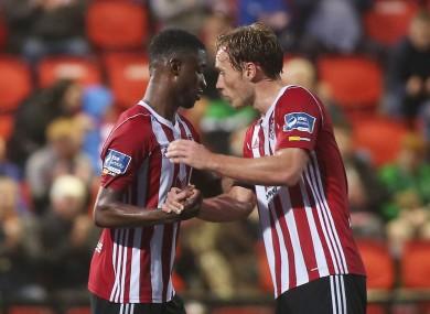 Junior Ogedi-Uzokwe (left) was on target for Derry.