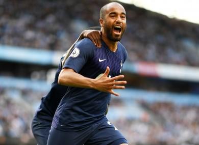 Lucas Moura celebrates against Manchester City