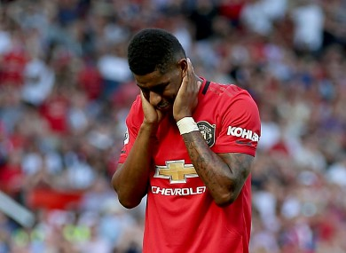 Marcus Rashford reacts after missing a penalty.