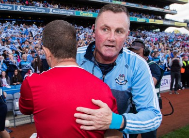 Dublin manager Mick Bohan and Cork boss Ephie Fitzgerald after last year's All-Ireland final.