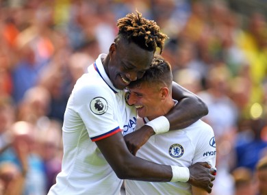 Abraham celebrates with Mason Mount at Carrow Road.