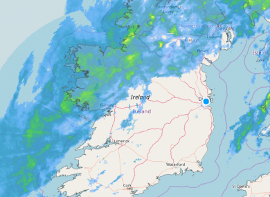 The current rainfall radar shows heavy rain is confined to the west of the country.
