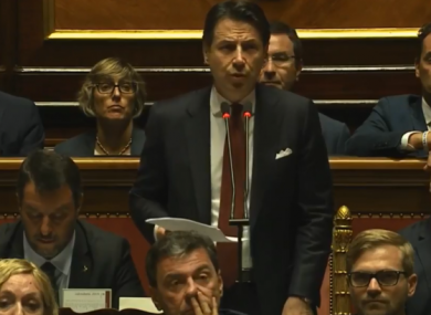 Prime Minister Giuseppe Conte speaks to the Senate this afternoon.