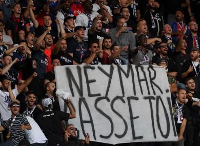 PSG fans reveal an anti-Neymar banner.
